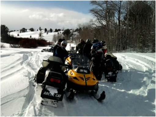 The Lander SnowDrifters helped RealRanchers Jim and Timmery Hellyer rescue a stray cow from the wintery mountains in Wyoming