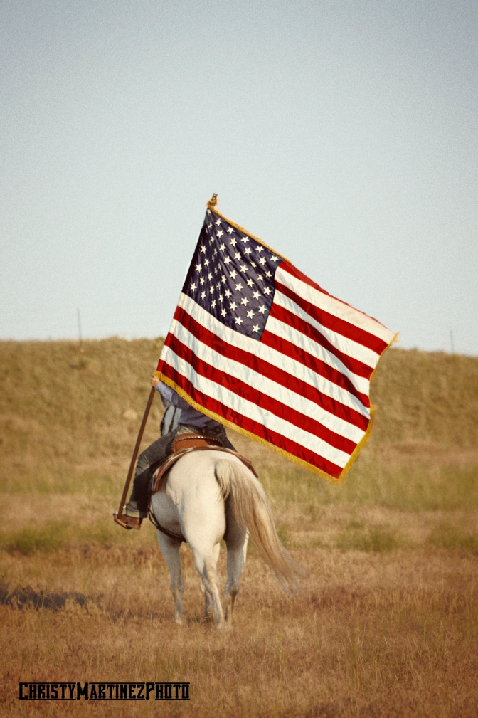 Horse and rider carrying American Flag