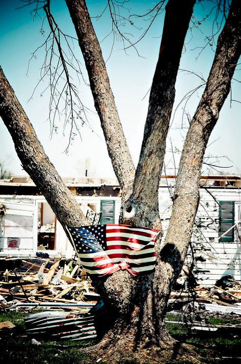 American Flag in Joplin, Missouri after the 2011 Tornado
