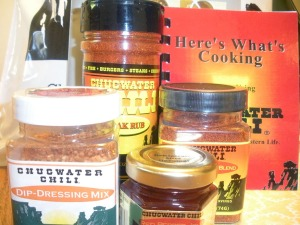 Chugwater Chili spice mix, dip mix, jelly, steak rub and cookbook