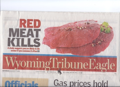 The Wyoming Tribune Eagle printed a sensationalized headline reading Red Meat Kills