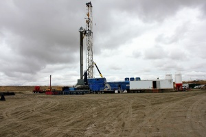 Drilling rig #129 in the Jonah Field near Pinedale Wyoming, operated by Encana Oil and Gas to produce natural gas for American Energy supplies.