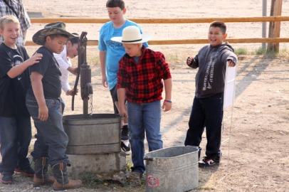 The Big Piney 4th Grade visits the Historic Sommers Ranch Homestead in Pinedale, Wyoming where they experienced life as a homesteader, including pumping and hauling water by hand