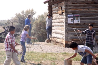 The Big Piney 4th Grade visits the Historic Sommers Ranch Homestead in Pinedale, Wyoming where they experienced life as a homesteader, including learning to use a rope to rope livestock