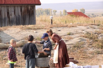 The Big Piney 4th Grade visits the Historic Sommers Ranch Homestead in Pinedale, Wyoming where they experienced life as a homesteader, including washing clothes by hand in a wash tub with scrub boards