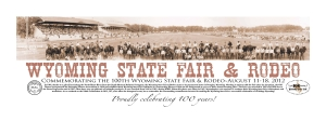 """Commemorating the 100th Wyoming State Fair, this 40""""x15"""" limited-edition poster is framed in glass with a black, metal frame. The image is set at the 1947 Wyoming State Fair Rodeo in Douglas and includes many Wyoming legends. Donated by Chuck and Mary Engebretsen and the Wyoming Pioneer Association."""