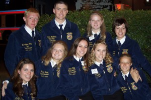 Friends for Life: The 2005-2006 Wyoming State FFA Officer Team (Back Row: Eli Lilley, Lander Nicodemus, Laura Nelson, Kassi Bauman. Front Row: Liz LeSatz (Lauck), Jessie Berry (Dafoe), Kalee Craig (, Amy Tullis (Houser), Kindra Rader.