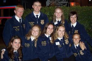 Friends for Life: The 2005-2006 Wyoming State FFA Officer Team (Back Row: Eli Lilley, Lander Nicodemus, Laura Nelson, Kassi Bauman. Front Row: Liz LeSatz (Lauck), Jessie Berry (Dafoe), Kalee Craig (, Amy Tullis (Houser), Kindra Rader.