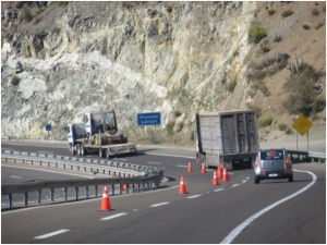 Cattle truck on PanAm Highway south of Coquimbo, Chile