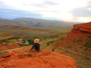 Kody looks over the Red Canyon Ranch during his internship.